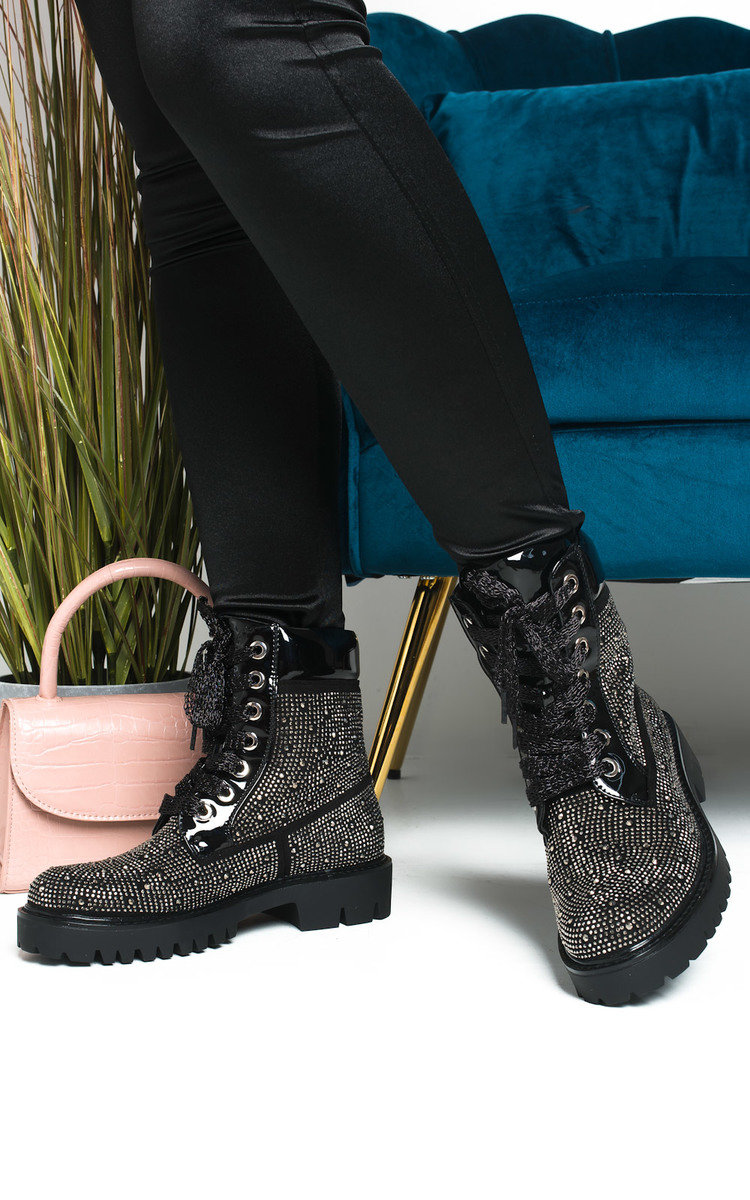 Timberlina Lace Up Biker Boots in Black