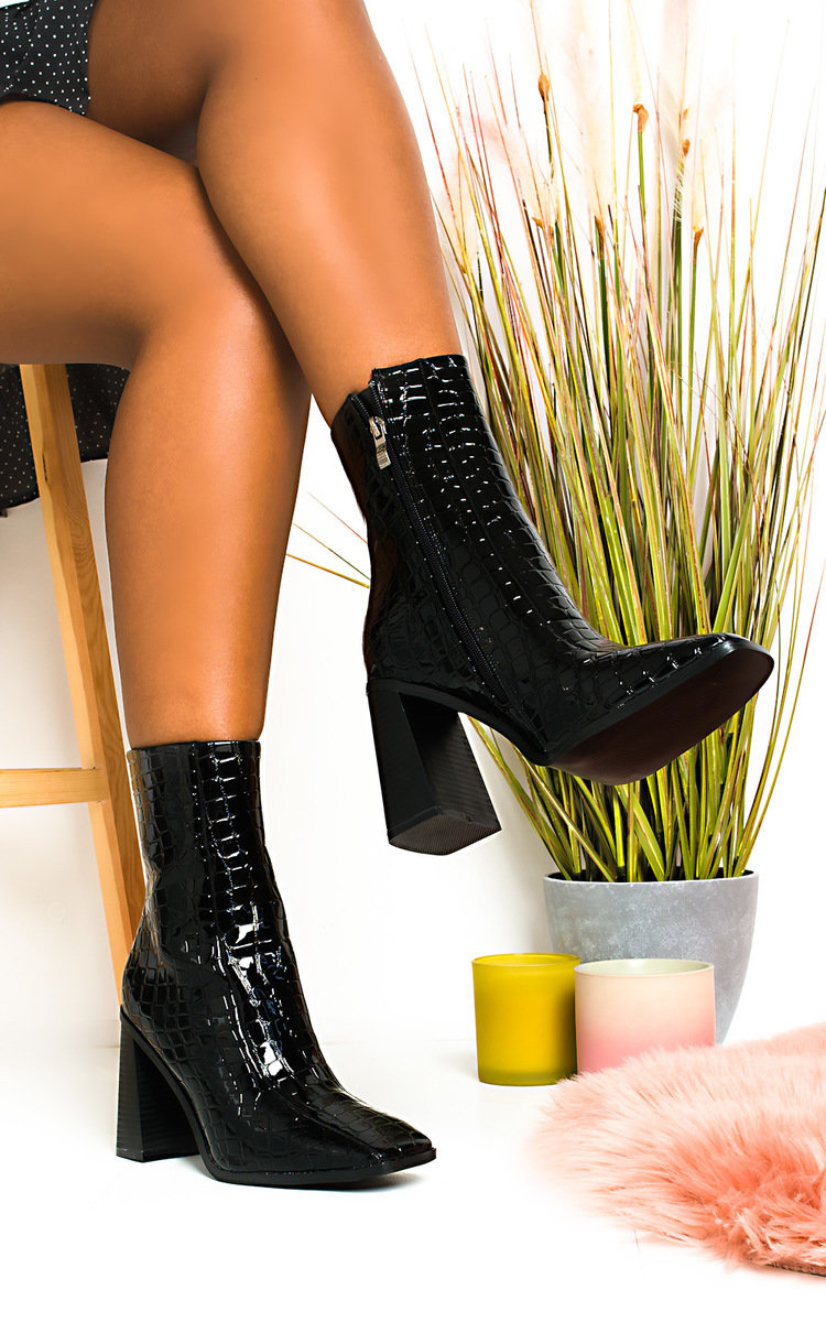 Trinny Block Heel Ankle Boots in Black