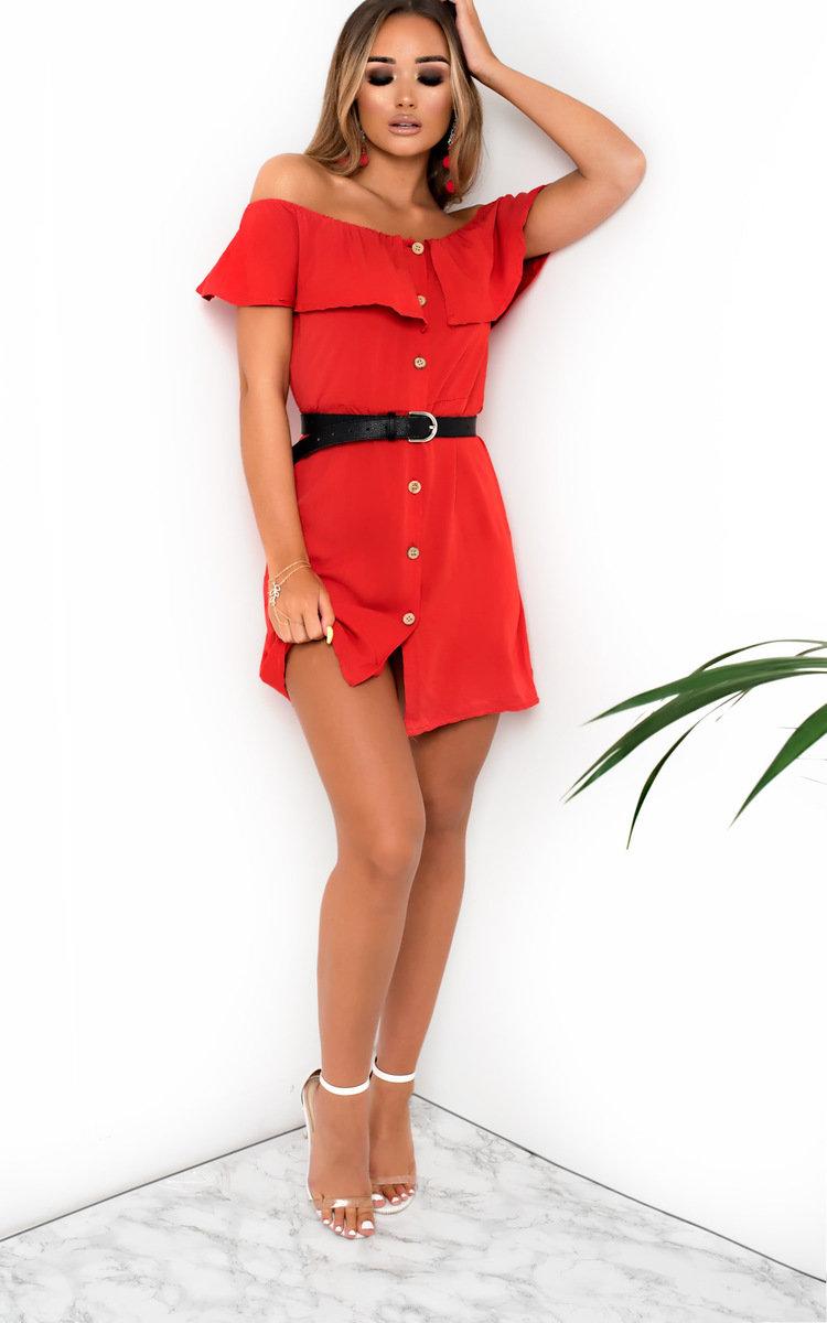 Vivi Off Shoulder Button Up Dress in Red