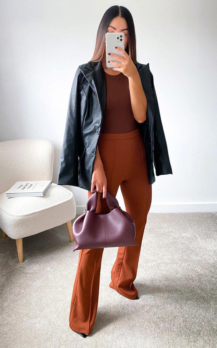 Winnie Faux Leather Blazer Jacket in Black