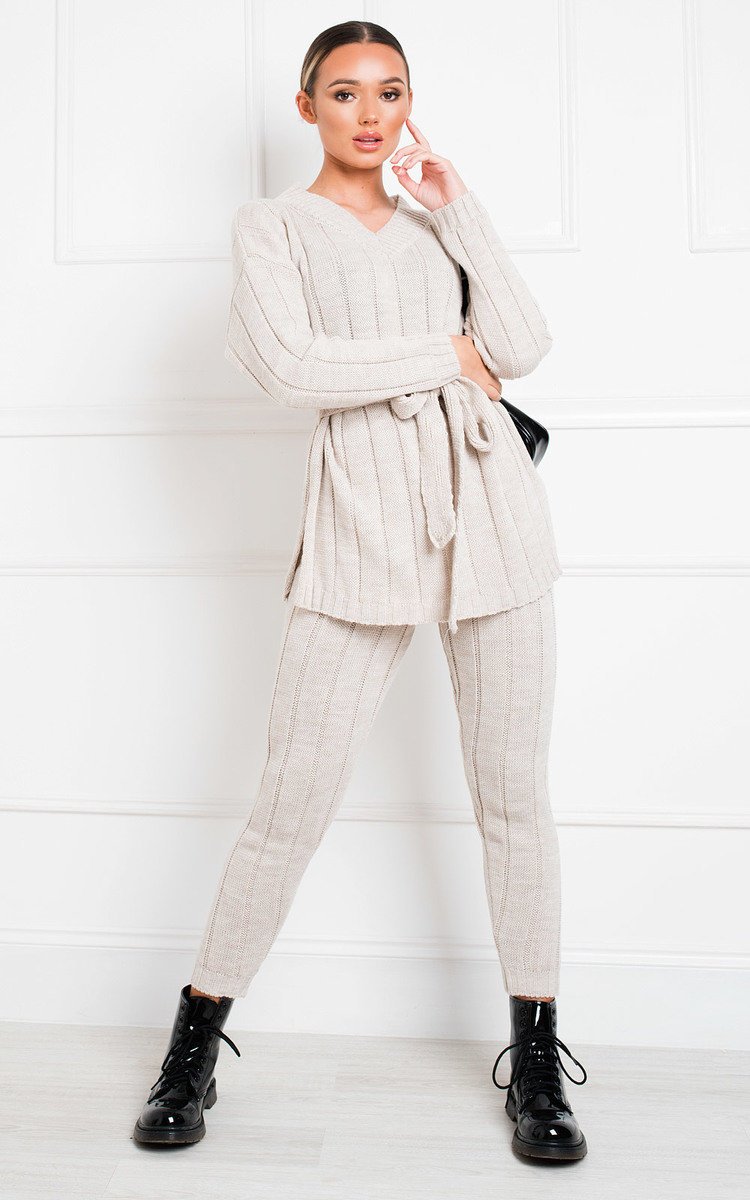 Yazmine Cable Knit Lounge Co-ord in Beige